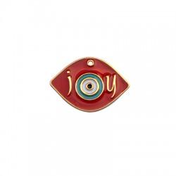 """Μεταλλικό Ζάμακ Χυτό Μοτίφ Μάτι """"joy""""με Σμάλτο 25x35mm"""