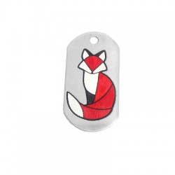 Brass Pendant Tag Fox Printed 20x37mm