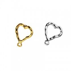 Zamak Earring Heart w/ Loop 12mm