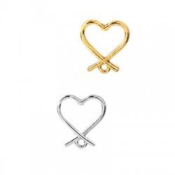 Μεταλλικό Ζάμακ Χυτό Σκουλαρίκι Καρδιά & Κρικάκι 13x15mm