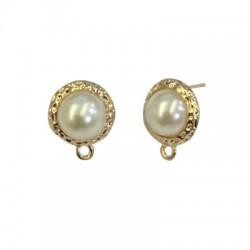 Zamak Earring Round 12mm w/ Pearl