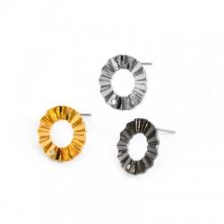 Zamak Earring Wavy Circle 18mm