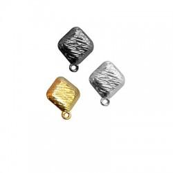 Μεταλλικό Ζάμακ Χυτό Σκουλαρίκι Ρόμβος με Κρικάκι 14mm