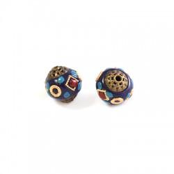 Perle avec motifs en Métal/Laiton 13mm (Ø 1,7mm)