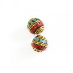 Perlina in Ottone Ovale Decorata 12x13mm (Ø 2.4mm)