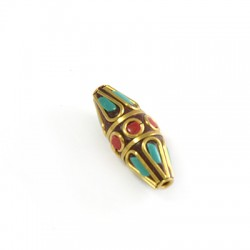Rectangle Pendant Slider With Semiprecious Stones  11x30mm (Ø2mm)