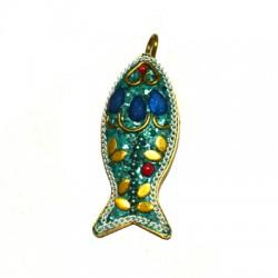 Ciondolo in Ottone Pesce Decorato con pietre Semipreciose 18x42mm