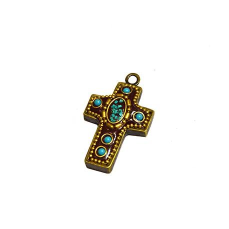 Ciondolo in Ottone Croce Decorato con pietre Semipreciose 23x32mm