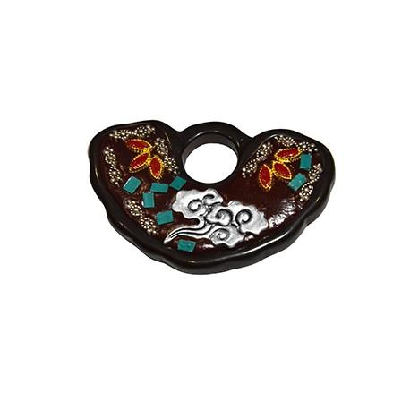 Ciondolo in Ottone Semicerchio Decorato con pietre Semipreciose 50x34mm