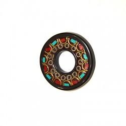 Ciondolo in Ottone Cerchio Decorato con pietre Semipreciose 47mm