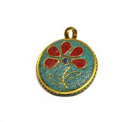 Ciondolo in Ottone Rorotndo con Fiore Decorato con pietre Semipreciose 30mm