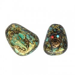 Ciondolo in Ottone Testa di Elefante 23x30mm Decorato con Pietre Semipreciose