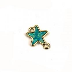 Intercalaire étoile en Métal/Zamak et Nacre artificiel 15x18mm