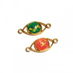 Zamak  Oval Connector with Acrylic Stone 12x26mm w/ 2 Rings