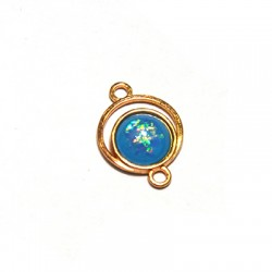 Zamak  Oval Connector with Acrylic Stone 15x21mm w/ 2 Rings