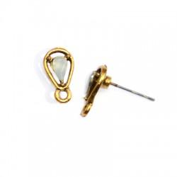 Μεταλλικό Ζάμακ Χυτό Σκουλαρίκι Σταγόνα Πέτρα Κρικάκι 6x12mm