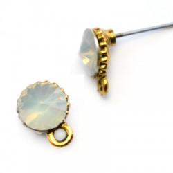 Μεταλλικό Ζάμακ Χυτό Σκουλαρίκι Στρογγυλό Πέτρα Κρικάκι 7mm