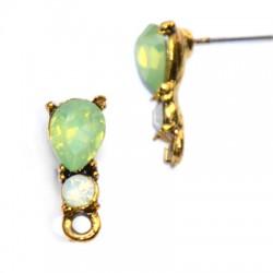 Zamak Earring w/Stones & Loop 5x14mm