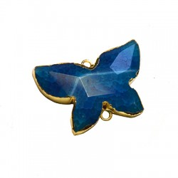Agate Butterfly Pendant with Brass Setting  20x30mm