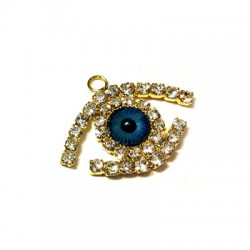 Metal Pendant Eye w/ Rhinestone 20.5x27mm