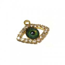 Metal Charm Eye w/ Rhinestone 17.5x23.5mm