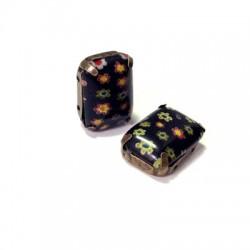 Castone con Cristallo Millefiori Rettangolare 13x18mm