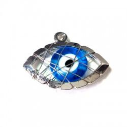 Ciondolo in Zama Occhio con Occhio Turco di Vetro Incastrato 20x28mm