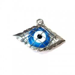 Ciondolo in Zama Occhio con Occhio Turco di Vetro Incastrato 21x31mm
