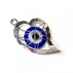 Metal Zamak  Heart with Glass Eye and Wire 23mm