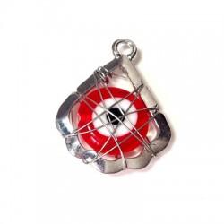 Charm in Zama Goccia con Occhio Turco di Vetro Incastrato 19x21mm