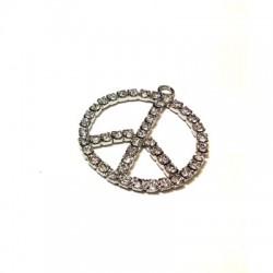 Charm in Metallo Segno della Pace con Strass 20mm