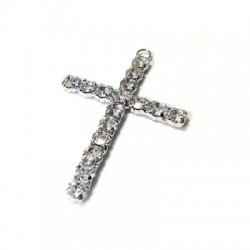 Ciondolo in Metallo Croce con Strass 47x67mm
