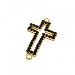 Cross with Strass 20x38mm w/2 Rings