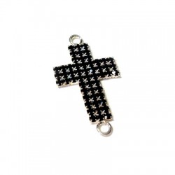 Cross with Strass 20x35mm w/2 Rings
