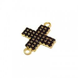Cross with Strass 20x28mm w/2 Rings