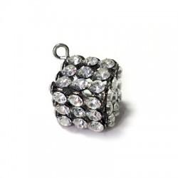 Charm in Metallo Cubo con Strass 12mm