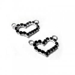 Heart with Strass 12x17mm w/2 Rings