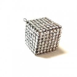 Ciondolo in Metallo Cubo con Strass 27mm