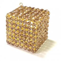 Ciondolo in Metallo Cubo con Strass 35mm