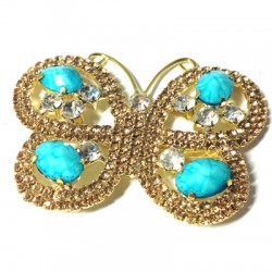 Rhinestone Butterfly 74x55mm with Nail
