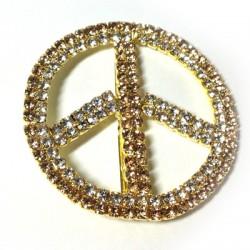 Borchia in Metallo Segno della Pace con Strass 50mm