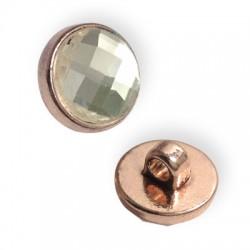 Passante in Zama Bottone Rotondo con Strass 15mm (Ø 3.5mm)