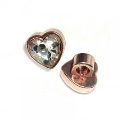Μεταλλικό Στοιχείο Καρδιά με Κρύσταλλο Περαστή 10mm (Ø3.5mm)