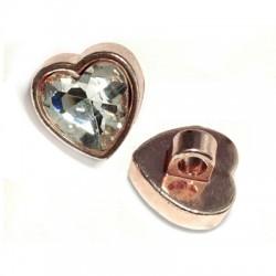 Μεταλλικό Στοιχείο Καρδιά με Κρύσταλλο Περαστή 15mm (Ø3.5mm)