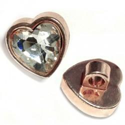 Μεταλλικό Στοιχείο Καρδιά με Κρύσταλλο Περαστή 16.5mm (Ø3.5mm)