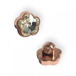 Μεταλλικό Στοιχείο Λουλούδι με Κρύσταλλο Περαστό 10mm (Ø3.5mm)