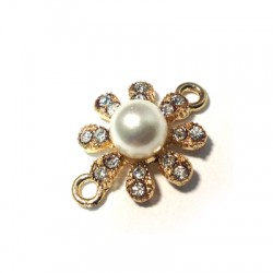 Rhinestone Flower 19mm with 2 Rings