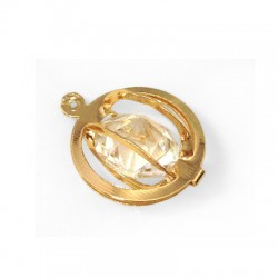 Steel Charm Circle with Stone 17mm