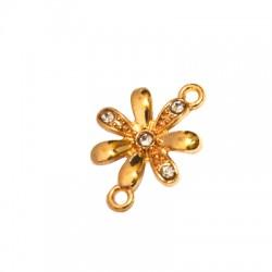 Μεταλλικό Ζάμακ Στοιχείο Λουλούδι με Στρας για Μακραμέ 15mm