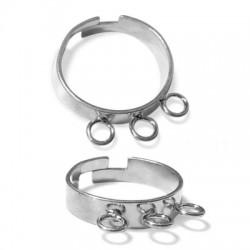 Ασήμι 925 Δαχτυλίδι Βάση με 3 Κρικάκια 20mm